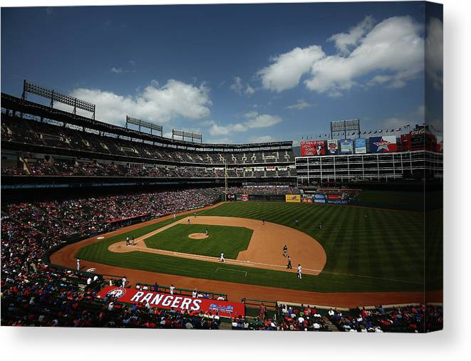 American League Baseball Canvas Print featuring the photograph Minnesota Twins V Texas Rangers by Tom Pennington