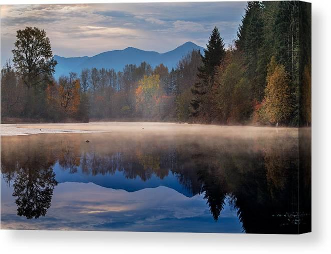 Borst Lake Canvas Print featuring the photograph Misty Morning by Manju Shekhar