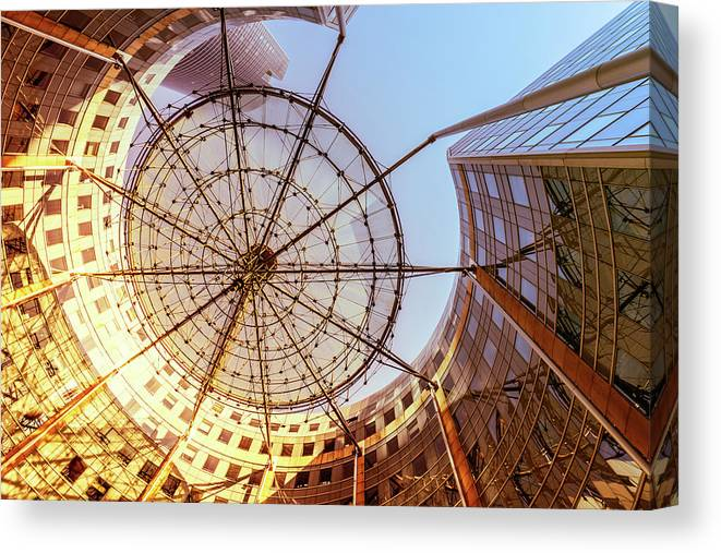 Corporate Business Canvas Print featuring the photograph Modern Architecture With Sun Shade by Warchi