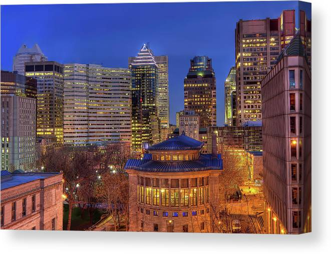 Tranquility Canvas Print featuring the photograph Montreal Downtown At Dusk Hdr II by Jean Surprenant