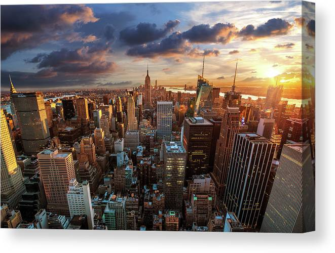 Tranquility Canvas Print featuring the photograph New York City Skyline by Dominic Kamp Photography