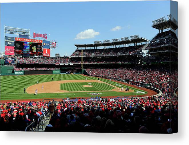 American League Baseball Canvas Print featuring the photograph New York Mets V. Washington Nationals by Alex Trautwig