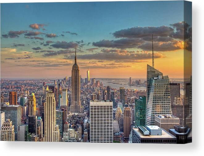Tranquility Canvas Print featuring the photograph New York Skyline Sunset by Basic Elements Photography