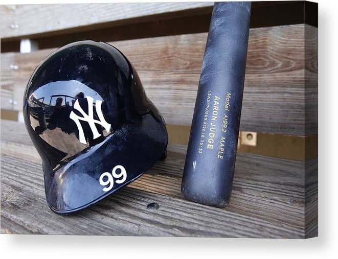 Headwear Canvas Print featuring the photograph New York Yankees v Baltimore Orioles by Mike McGinnis