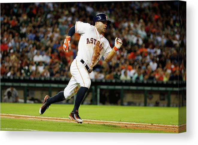 People Canvas Print featuring the photograph New York Yankees V Houston Astros by Scott Halleran
