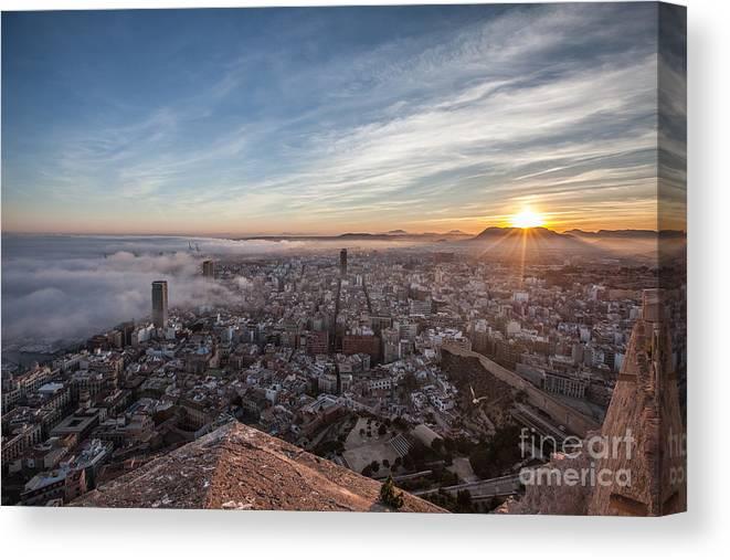 Alicante Canvas Print featuring the photograph Niebla en Alicante by Eugenio Moya