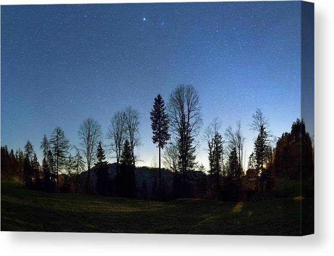 Beehive Canvas Print featuring the photograph Night Panorama With Stars by Dr Juerg Alean