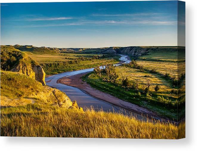 Badlands Canvas Print featuring the photograph North Dakota Badlands by Rruntsch