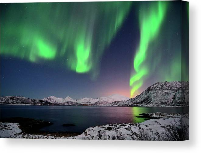 Tranquility Canvas Print featuring the photograph Northern Lights And Moonlit Landscape by John Hemmingsen