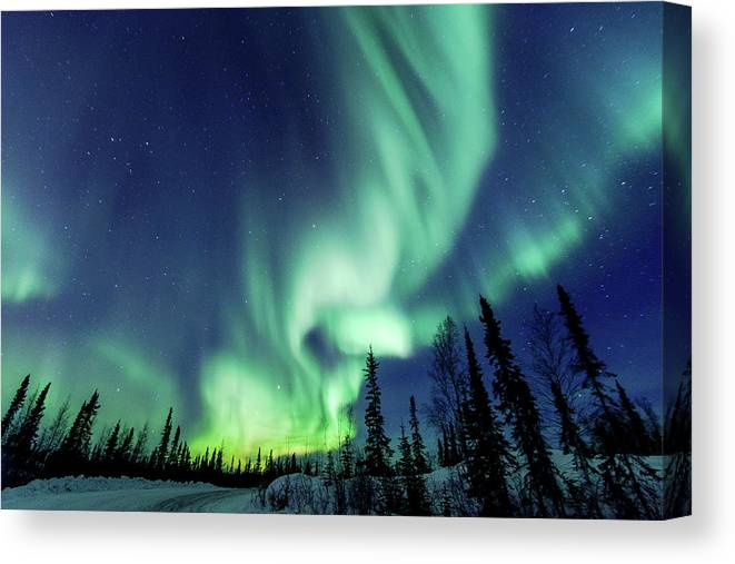 Scenics Canvas Print featuring the photograph Northern Lights Close To Yellowknife In by Vincent Demers Photography