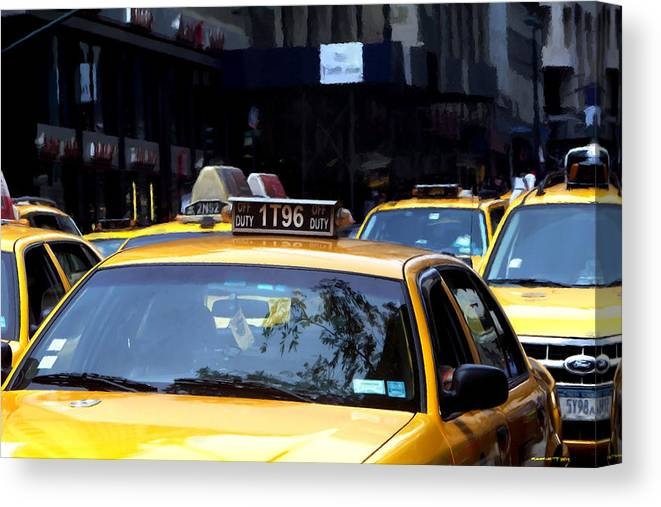 Arte Urbano Canvas Print featuring the digital art NY Streets - Yellow Cabs 2 by Gabriel T Toro