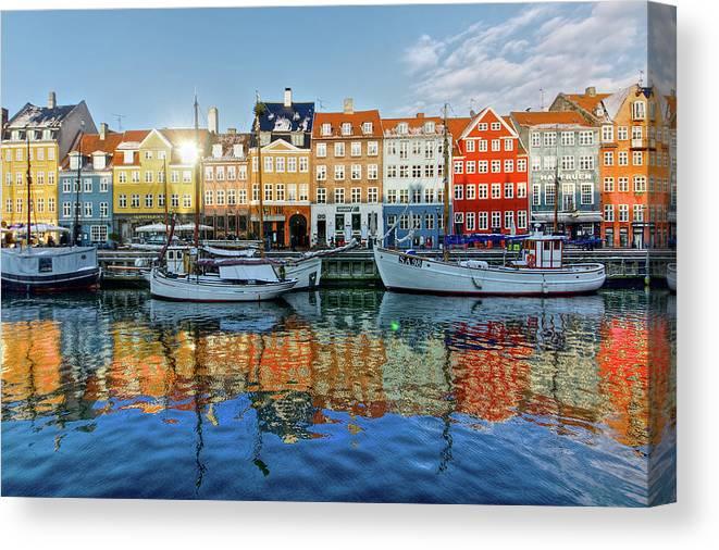 Copenhagen Canvas Print featuring the photograph Nyhavn, Copenhagen, Denmark by Kateryna Negoda