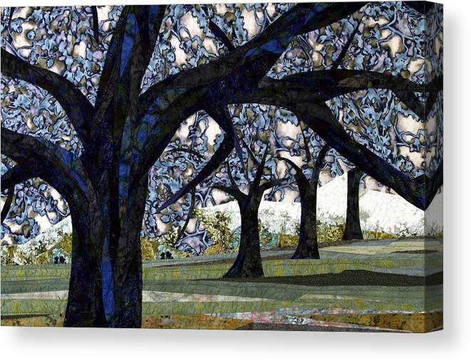 Trees Canvas Print featuring the tapestry - textile Oak Veiling by Linda Beach