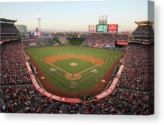 American League Baseball Canvas Print featuring the photograph Oakland Athletics V Los Angeles Angels by Jeff Gross