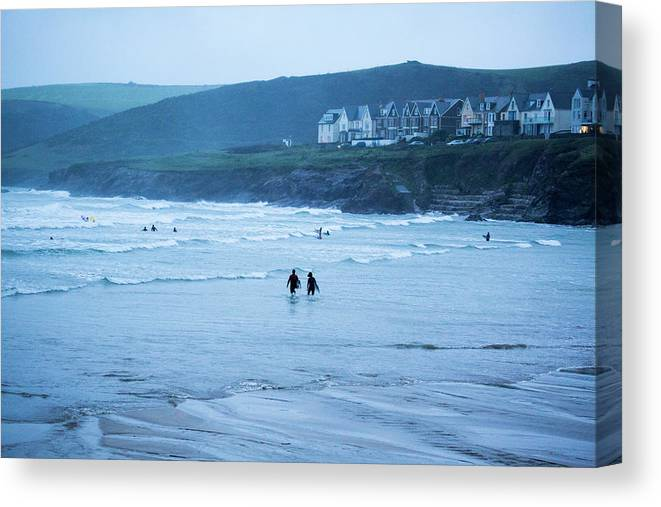 Built Structure Canvas Print featuring the photograph October Evening Surf by Landscapes, Seascapes, Jewellery & Action Photographer