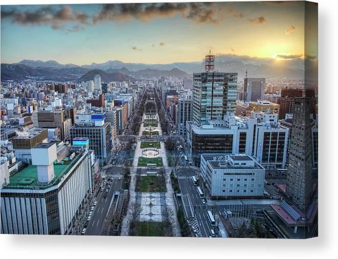 Hokkaido Canvas Print featuring the photograph Odori Park Sunset by Daniel Chui