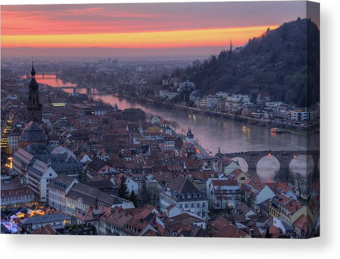 Tranquility Canvas Print featuring the photograph Old Town Of Heidelberg At Sunset by Richard Fairless