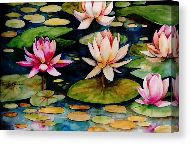Lily Canvas Print featuring the painting On Lily Pond by Jun Jamosmos