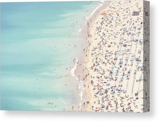 Water's Edge Canvas Print featuring the photograph Ondarreta Beach, San Sebastian, Spain by John Harper