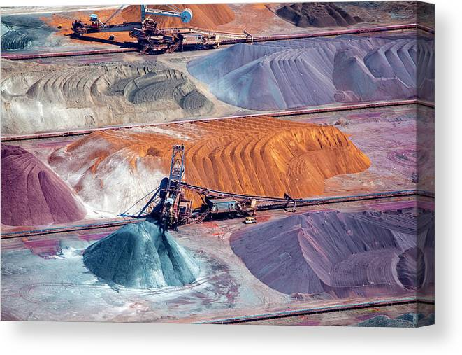 Orange Color Canvas Print featuring the photograph Ore And Conveyor Belt Aerial by Opla