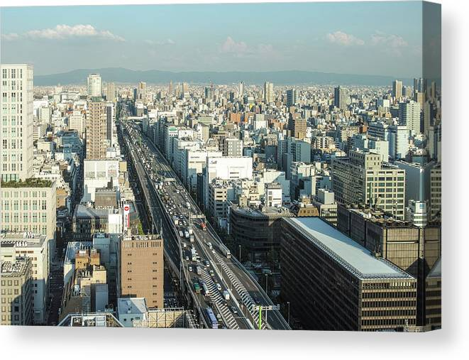 Osaka Prefecture Canvas Print featuring the photograph Osaka Cityscape by I Love Photo And Apple.