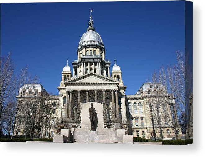 Democracy Canvas Print featuring the photograph Outside view of the Illinois State Capitol Building by On-Track