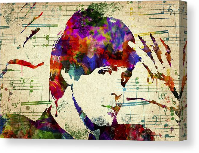 Paul Mccartney Canvas Print featuring the digital art Paul McCartney by Aged Pixel