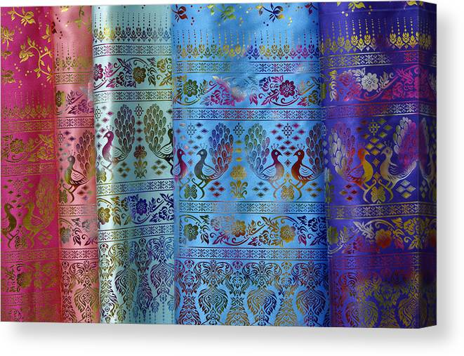 Asia Canvas Print featuring the photograph Peacocks on Silk by Michele Burgess