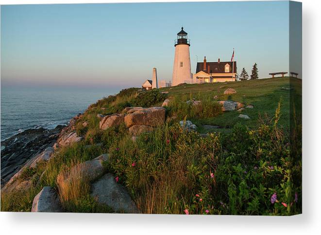 Tranquility Canvas Print featuring the photograph Pemaquid Point Maine Lighthouse by Dave Mention Photography