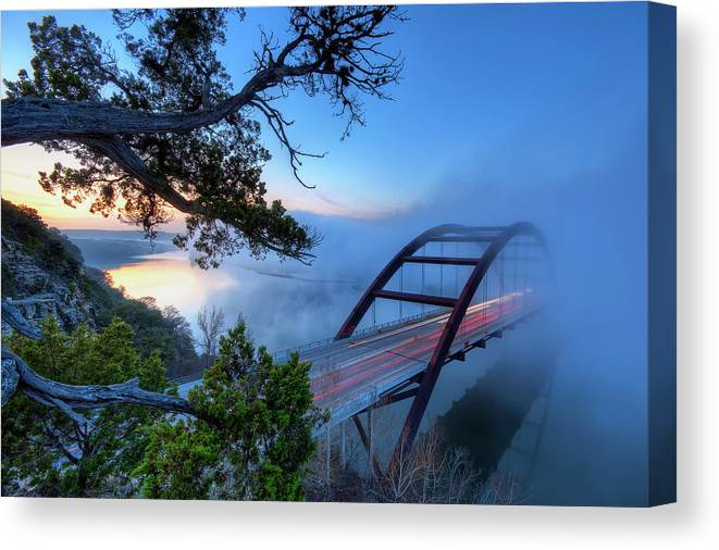 Tranquility Canvas Print featuring the photograph Pennybacker Bridge In Morning Fog by Evan Gearing Photography