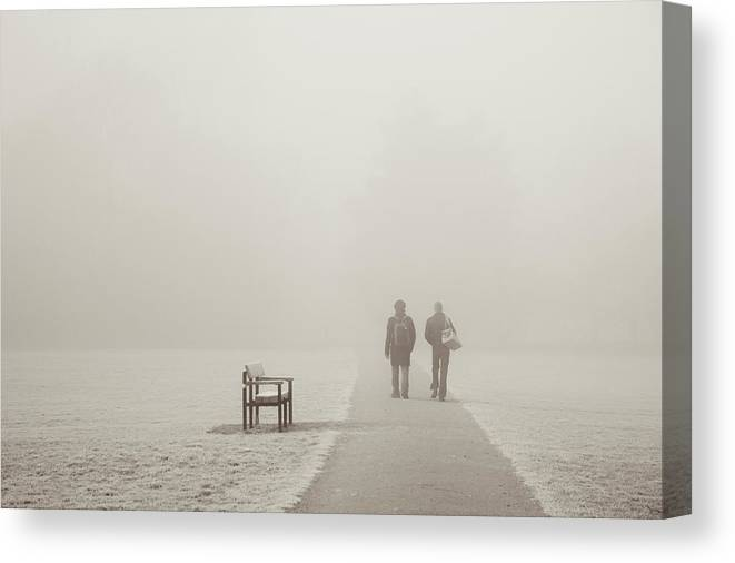 Cool Attitude Canvas Print featuring the photograph People Walking On A Misty Morning by Elaine W Zhao
