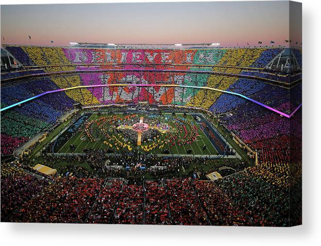 Levi's Canvas Print featuring the photograph Pepsi Super Bowl 50 Halftime Show by Ezra Shaw