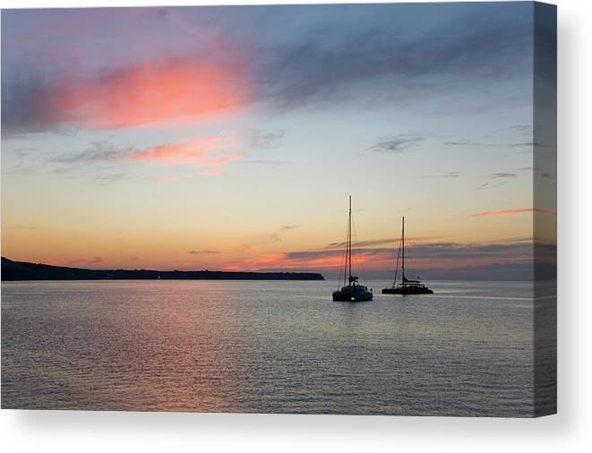 Scenics Canvas Print featuring the photograph Pink Sky After Sunset, Oia, Santorini by David C Tomlinson