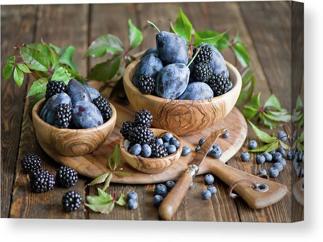 Plum Canvas Print featuring the photograph Plums And Berries by Verdina Anna