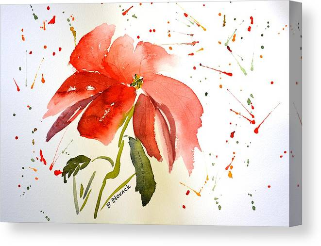 Flower Canvas Print featuring the painting Pointsettia by Patricia Novack