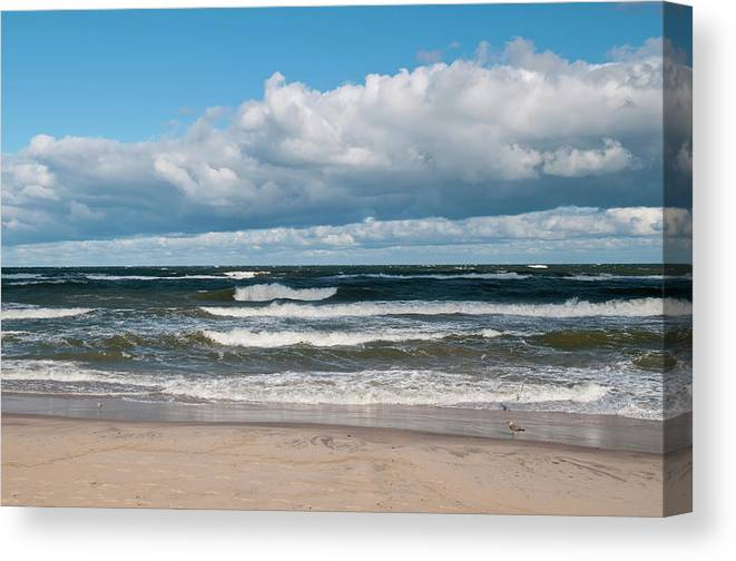 Water's Edge Canvas Print featuring the photograph Poland, View Of Baltic Sea In Autumn At by Westend61
