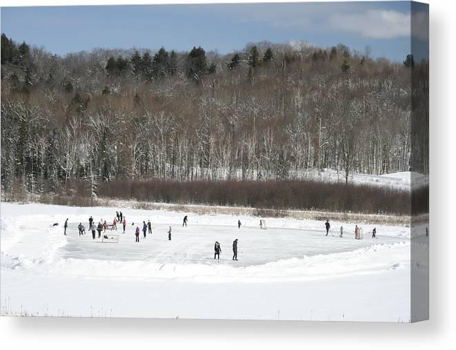 Hockey Canvas Print featuring the photograph Pond Hockey Muskoka by Dr Carolyn Reinhart