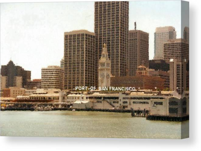 Port Of San Francisco Painting Canvas Print featuring the digital art Port of San Francisco Painting by Asbjorn Lonvig