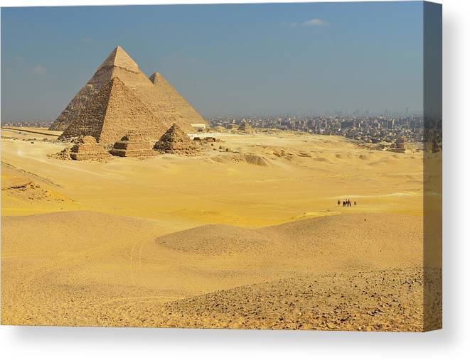 Built Structure Canvas Print featuring the photograph Pyramids Of Giza by Raimund Linke