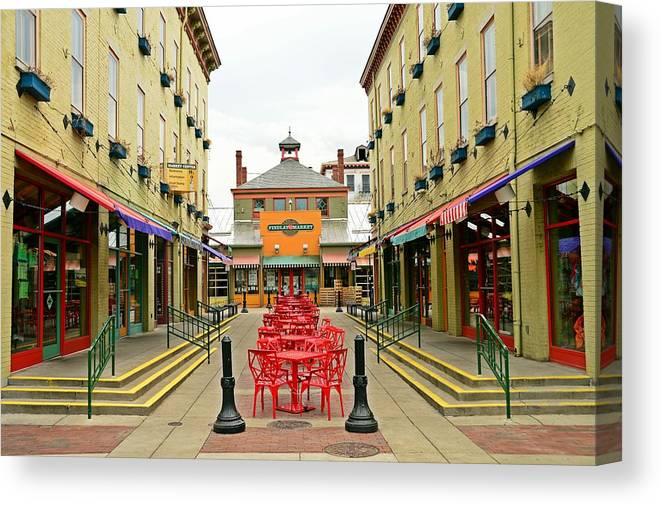 Cincinnati Canvas Print featuring the photograph Quiet Day at Findlay Market by David Earl Johnson