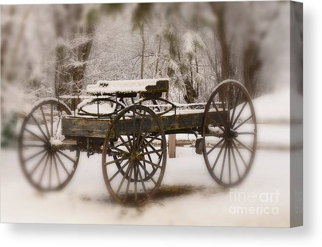 Wagon Canvas Print featuring the photograph Relic of a Time Gone By by Dennis Hammer