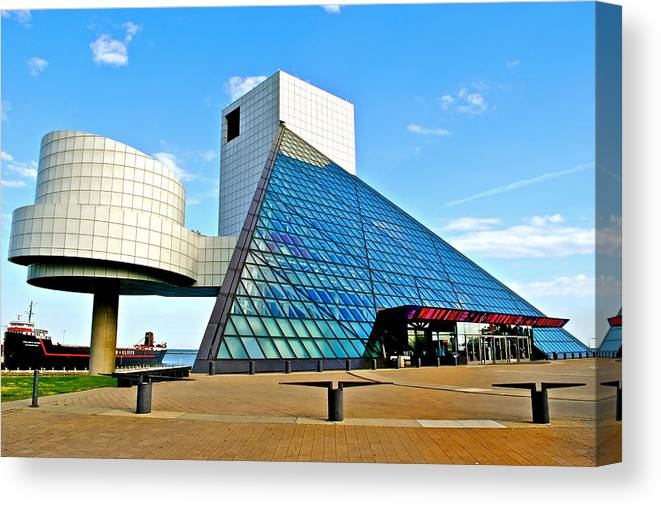 Rock Canvas Print featuring the photograph Rock n Roll Hall of Fame by Frozen in Time Fine Art Photography