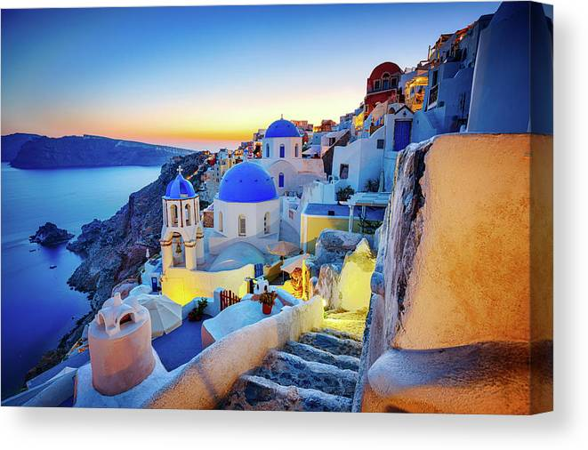 Greek Culture Canvas Print featuring the photograph Romantic Travel Destination Oia by Mbbirdy