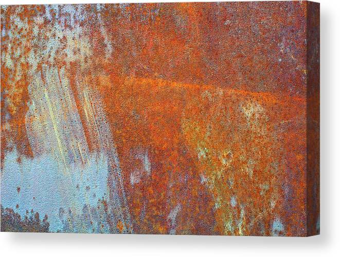 Aging Process Canvas Print featuring the photograph Rust On A Metal Surface by Rob Atkins