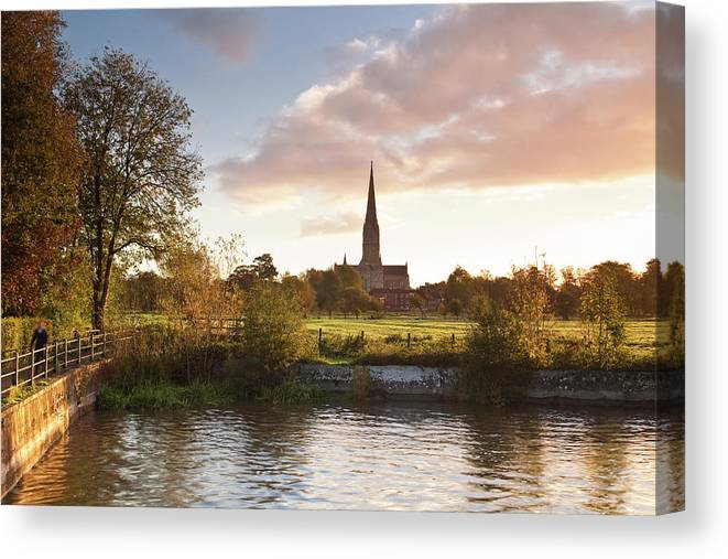 Tranquility Canvas Print featuring the photograph Salisbury Cathedral And The River Avon by Julian Elliott Photography
