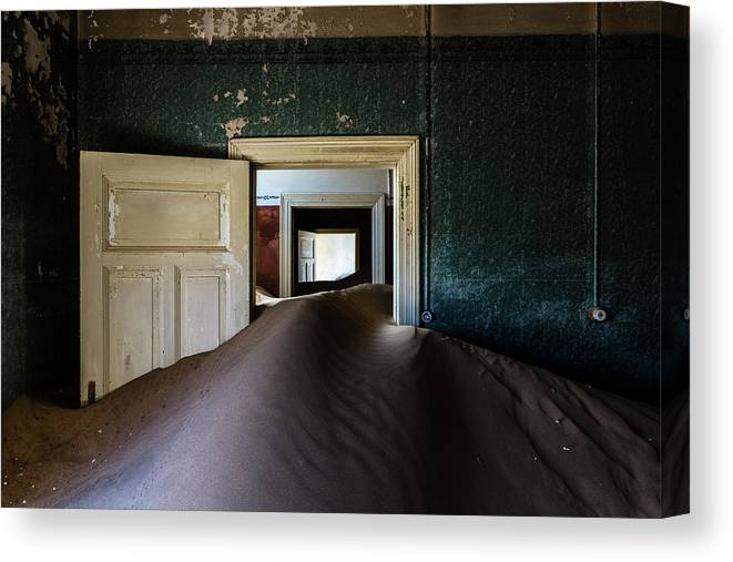 Sand Dune Canvas Print featuring the photograph Sand Dune In Door Frame Of Abandoned by Pixelchrome Inc