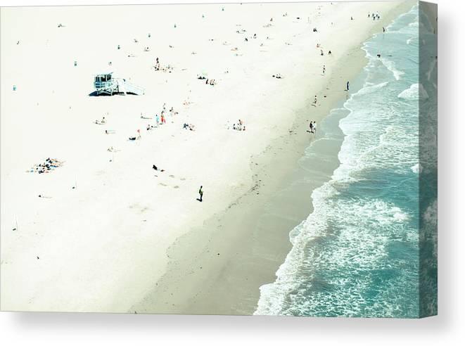 Water's Edge Canvas Print featuring the photograph Santa Monica Beach by Angela Auclair
