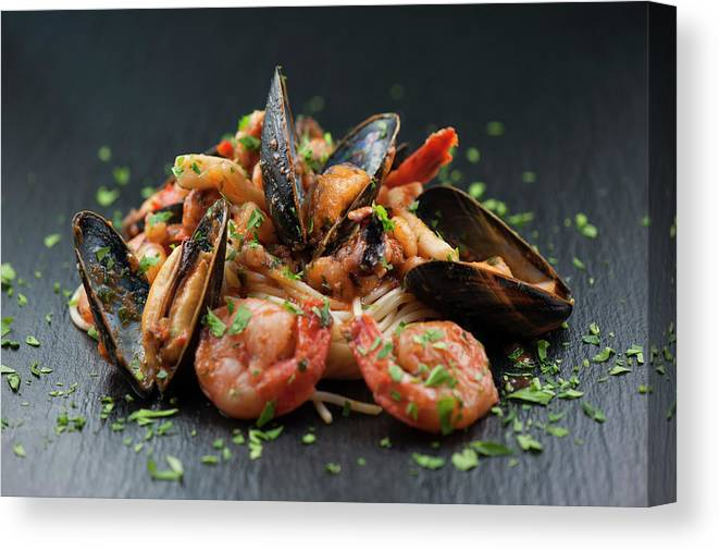 Prawn Canvas Print featuring the photograph Seafood Pasta by Cbording