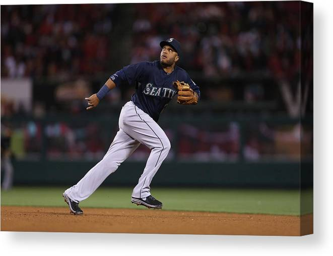 American League Baseball Canvas Print featuring the photograph Seattle Mariners V Los Angeles Angels by Jeff Gross