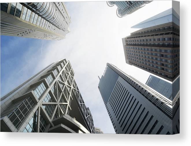 Downtown District Canvas Print featuring the photograph Shanghai Stock Exchange,china - East by Zyxeos30